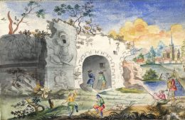 Anna Maria Thelott (1683-1710) Landskap med ruiner, kyrka, män och målande kvinna. UUB