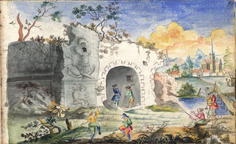 """Anna Maria Thelott (1683-1710) """"Landskap med ruiner, kyrka, män och målande kvinna"""". UUB"""