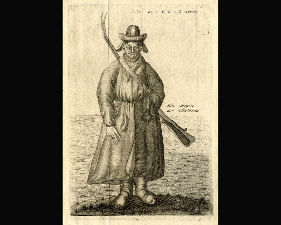 Bilden föreställer en ung kazak från stäppområdena söder om Ryssland. Ur Falcks publicerade reseberättelse Beiträge zur Kenntnis des Russischen Reichs (1785-86).