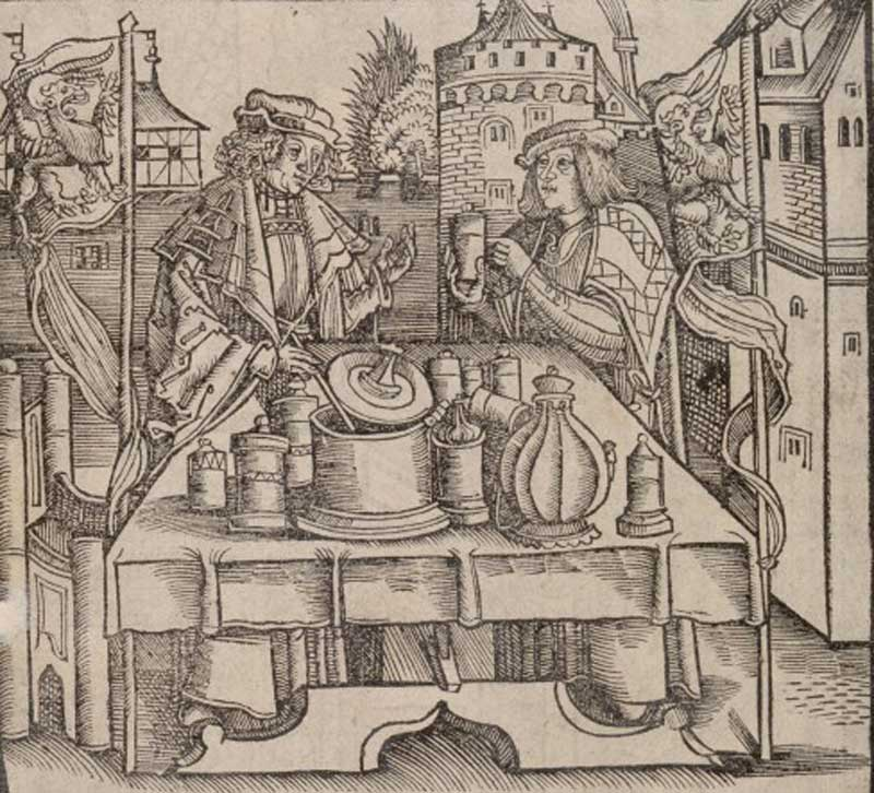 An apothecary publically preparing the drug theriac, under the supervision of a physician. Woodcut. Iconographic Collections Keywords: CEREMONY; DRUGS; antidote; Hieronymus Brunschwig; Pharmacy; theriac; brunschwig