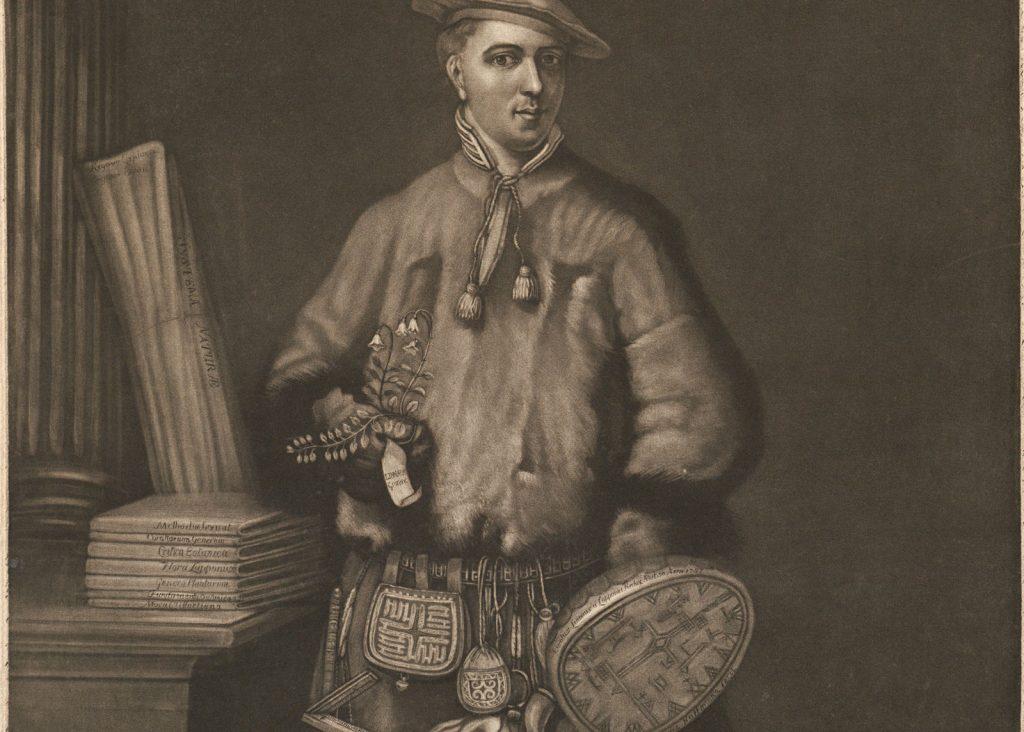 Linné i samedräkt. UUB:s samlingar. https://www.alvin-portal.org/alvin/imageViewer.jsf?dsId=ATTACHMENT-0001&pid=alvin-record:100018